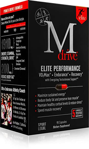 Mdrive Elite Energizing Testosterone Support with Cordyceps, Fenugreek and  KSM-66, 90 Count