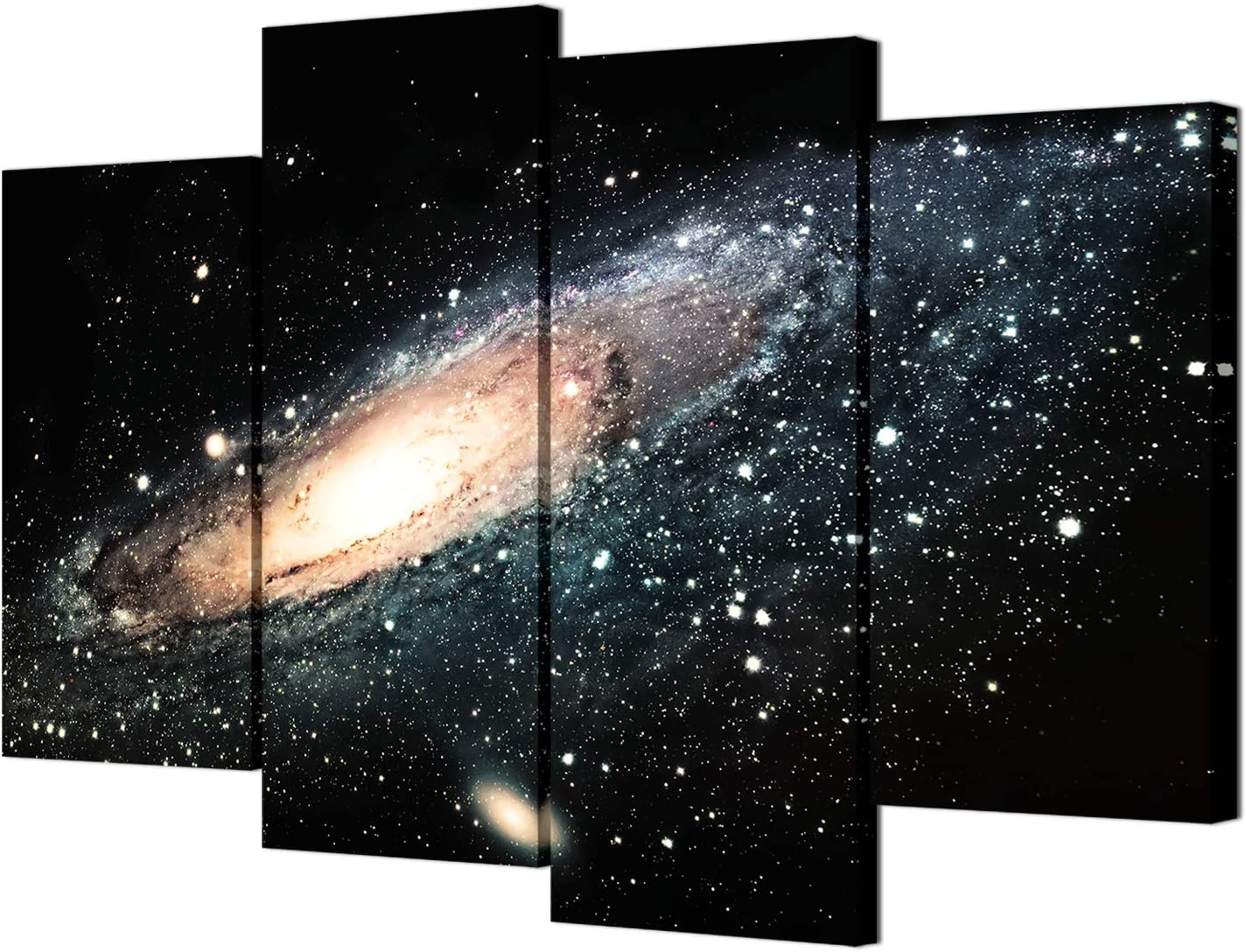 VVOVV Wall Decor - Space Landscape Wall Art Canvas Prints Andromeda Galaxy Universe Picture Poster 4 Piece Starry Night Painting Modern Giclee Print for Wall Decor