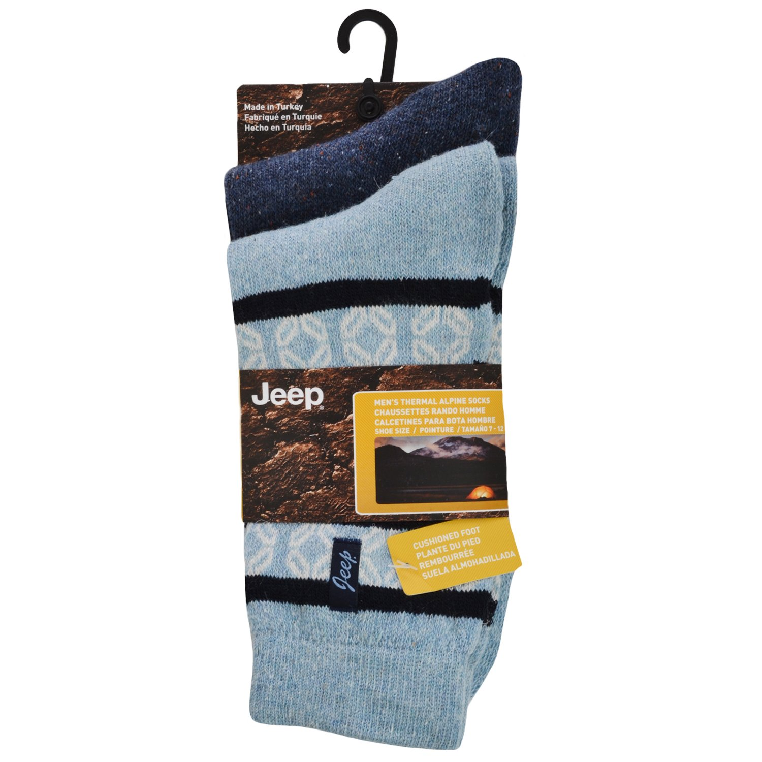 2 Pair Jeep Mens Thermal Thick Wool Walking Boot Socks - Nvy/Sky - 6-11UK at Amazon Mens Clothing store: