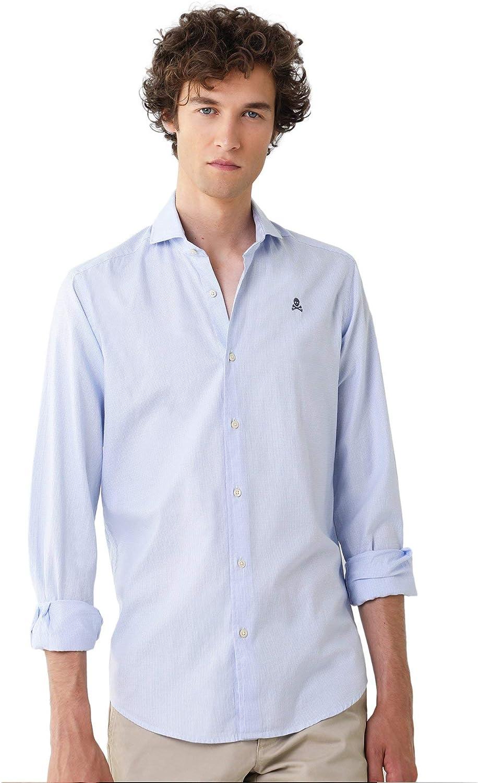 Scalpers Camisa Sport ELISEE Calavera Pecho - Light Blue Check / 44: Amazon.es: Ropa y accesorios