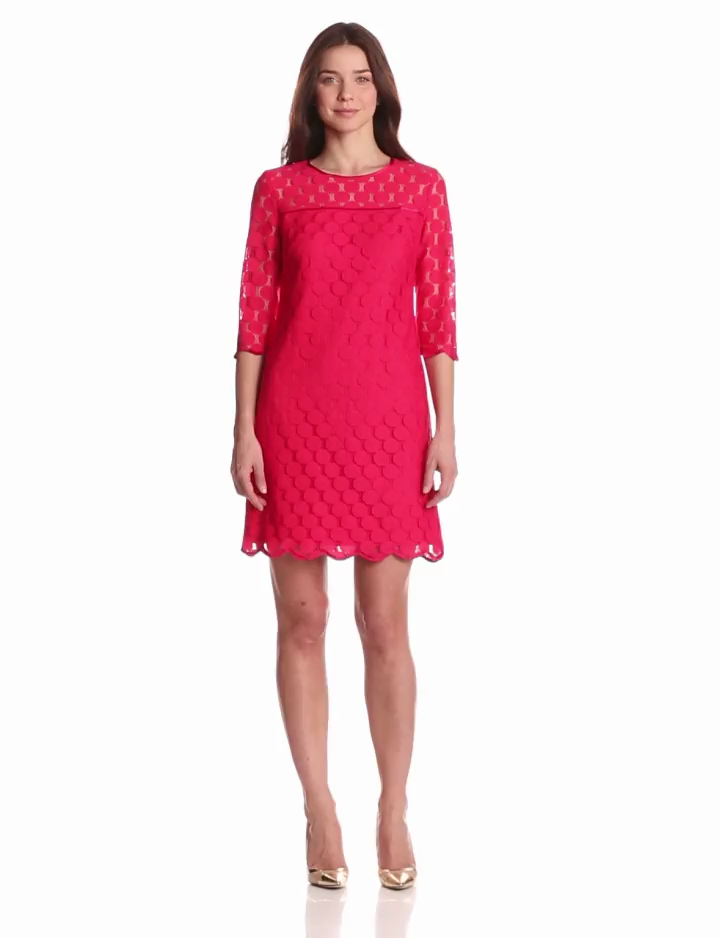 Adrianna Papell Womens 3/4 Sleeve Scalloped Lace Shift Dress