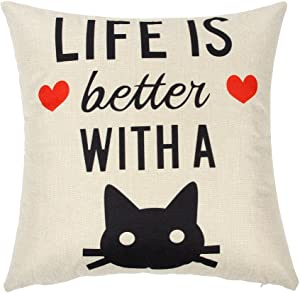 """Ogiselestyle Cat Lover Decor Life is Better with A Cat Quote Cotton Linen Home Decorative Throw Pillow Case Cushion Cover for Sofa Couch, 18"""" x 18"""""""