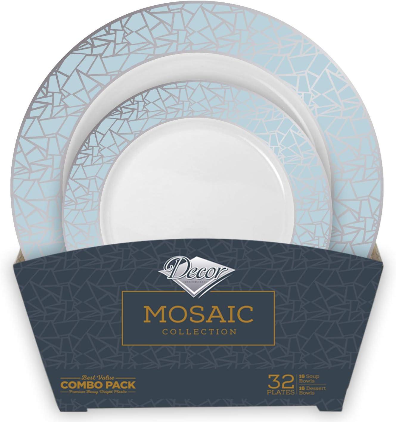 Decor Decorline - Set de Platos de Plástico para Fiestas Premium 32 Piezas - Colección Mosaico Elegante - Plata -Platos Gruesos y Duraderos -Juego de Platos de Cena de Plástico para Toda Ocasión