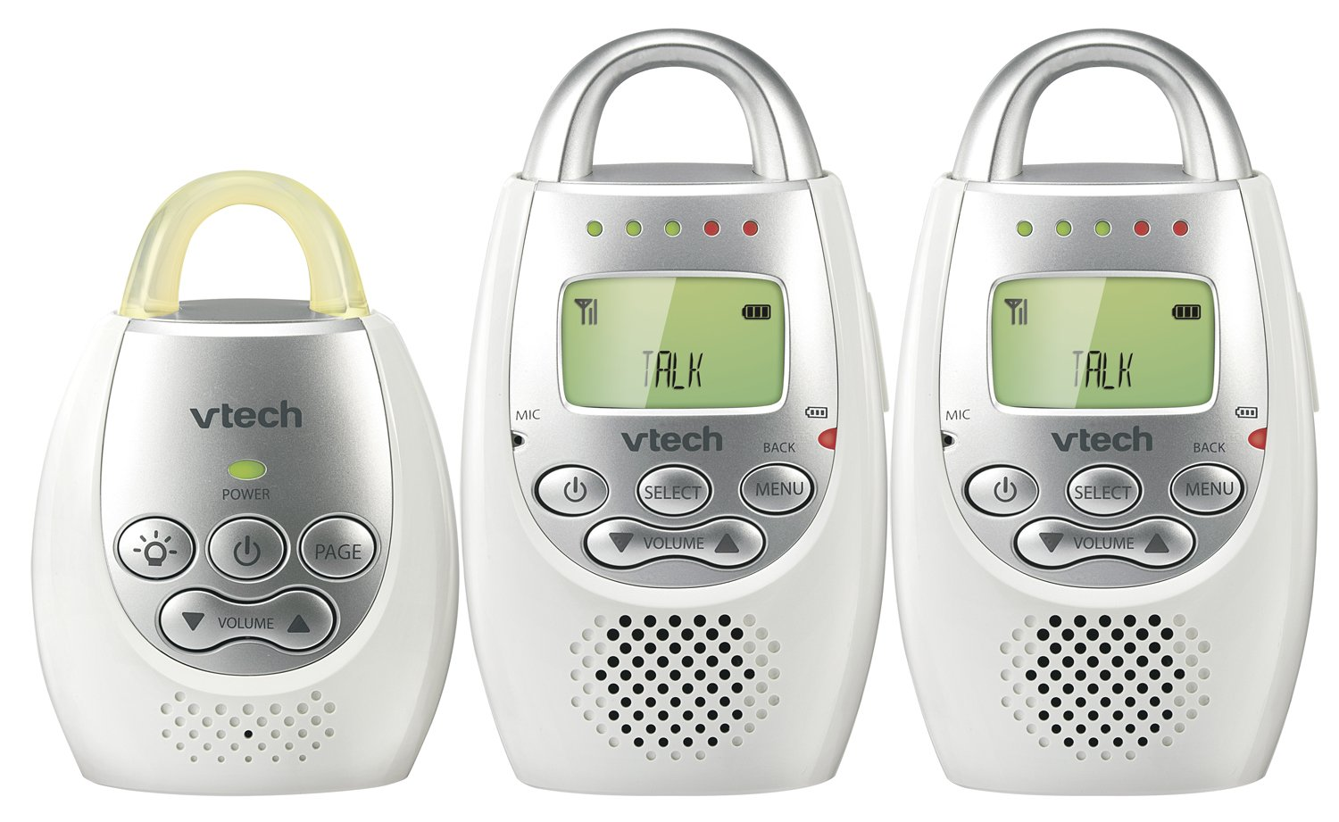 VTech Safe and Sound Digital Audio Monitor with 2-Parent Units, White, 1-Pack DM221-2