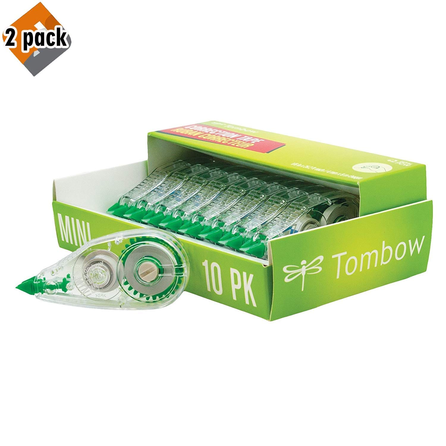 Tombow 68722 MONO Mini Correction Tape, 10-Pack. Easy to Use Applicator for Instant Corrections, 2 Pack