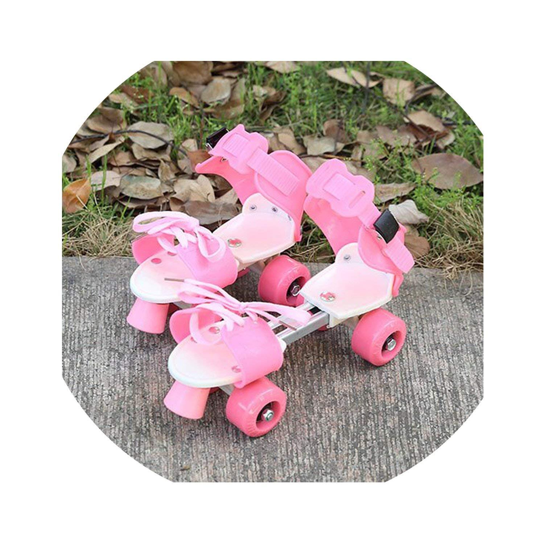 Child Gifts Children Roller Skates Double Row 4 Wheel Skating Shoes Adjustable Size Sliding Slalom Skates Kids Boys Girls,Pink
