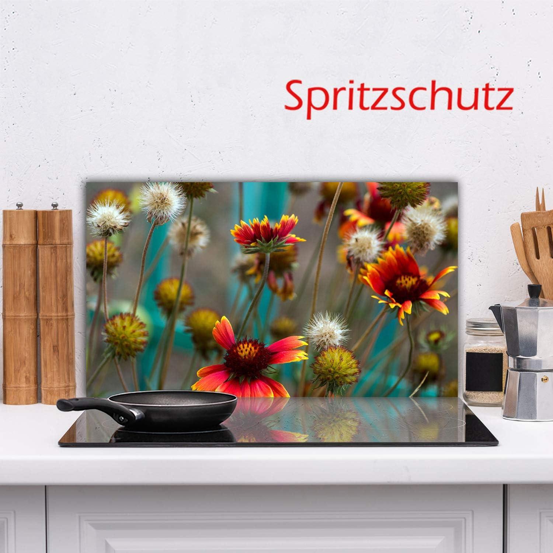 Herdabdeckplatte Ceranfeld Blumen Bunt 1 Teilig 90x52 Kochplatten Glas Induktion