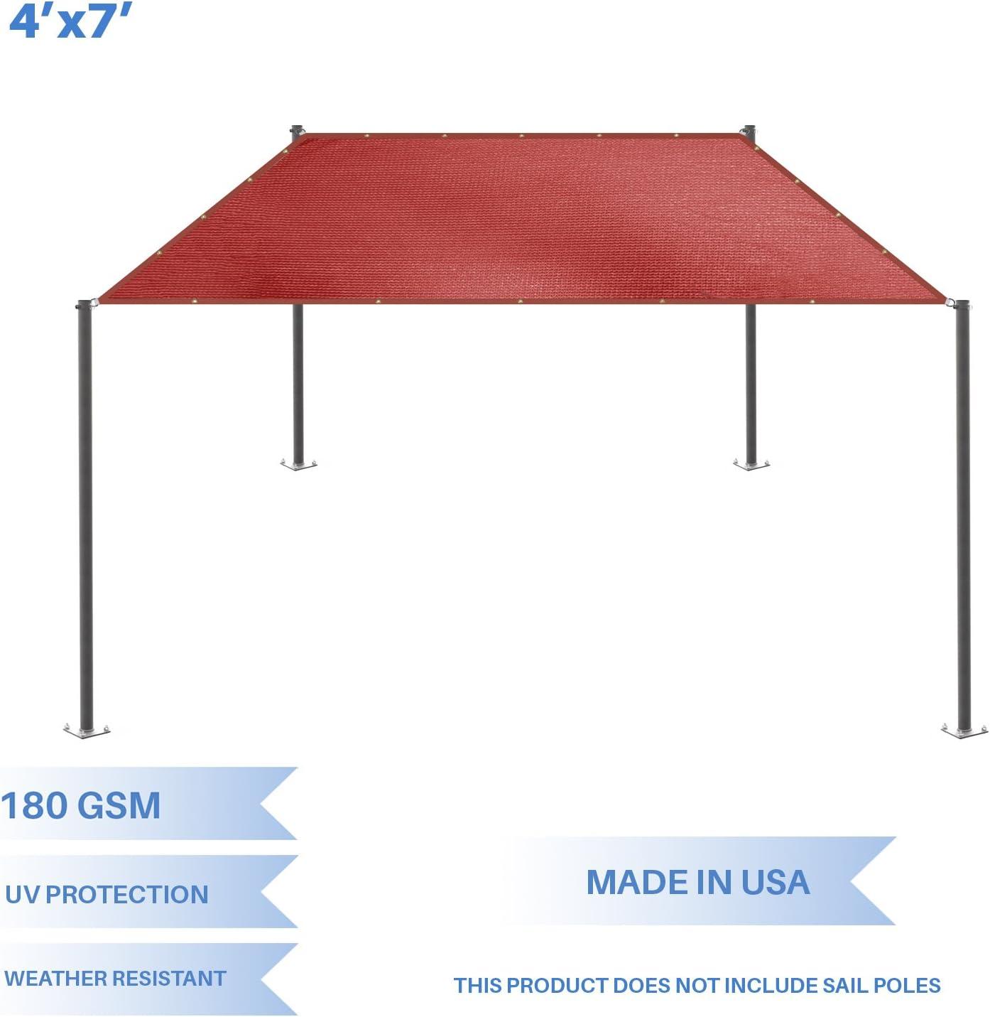 E K Sunrise 4 x 7 Sun Shade Sail- Red Straight Edge Rectangle UV Block Durable Awning Perfect for Canopy Outdoor Garden Backyard-180GSM-Customized