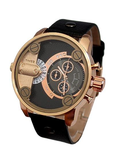 Reloj de Pulsera para Hombre, Esfera Grande, Caja de Regalo con Cadena de Acero Inoxidable: Amazon.es: Relojes