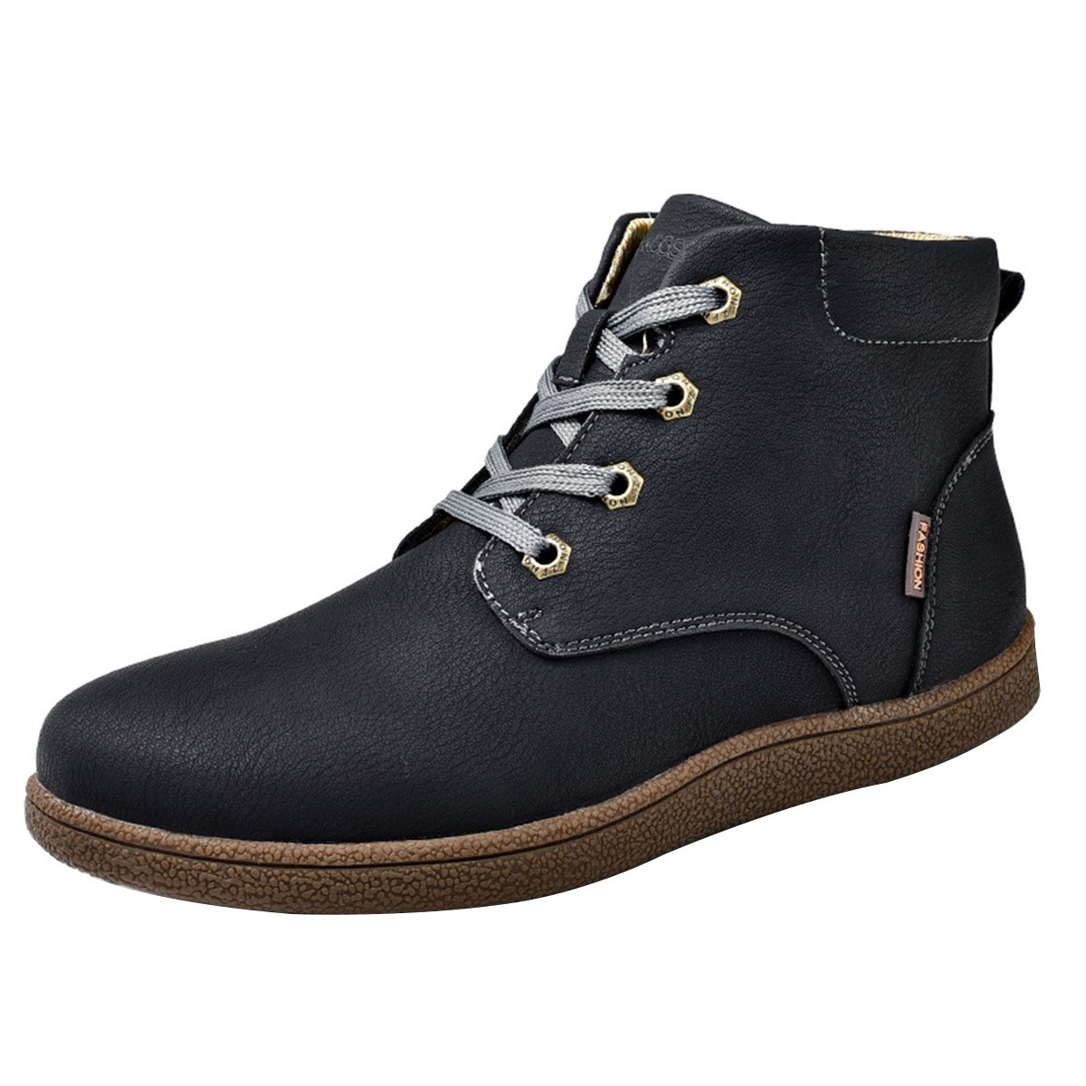 Gracosy Martin boots for Men, Men's Fashion Leather Lace up Boots Winter Cotton Lining Shoes Waterproof Boots Black Tag 43 by Gracosy (Image #1)
