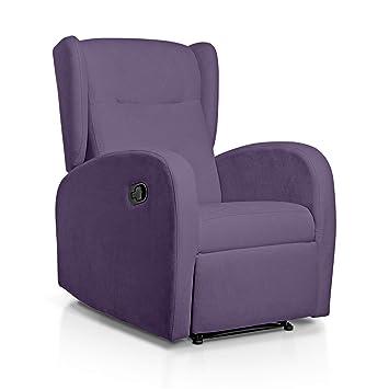 SUENOSZZZ-ESPECIALISTAS DEL DESCANSO Sueños ZZZ | Sillon Relax reclinable Home tapizado Tela Antimanchas Lila | Sillon reclinable butaca Relax | ...