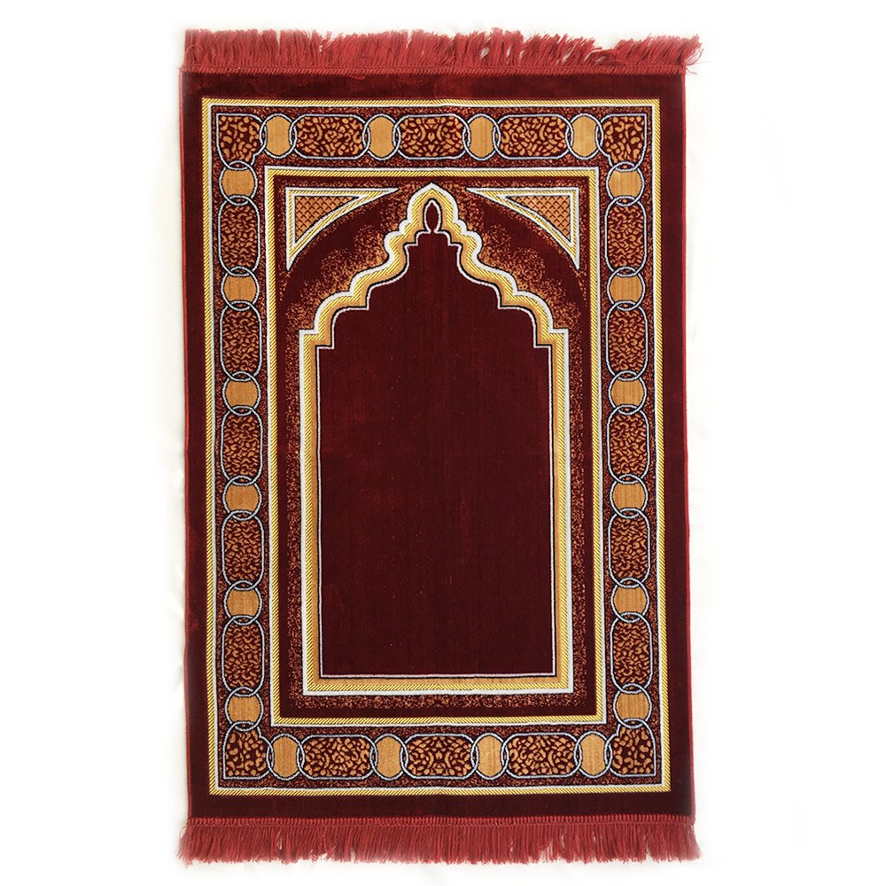 Double Turkish Islamic Prayer Rug Plush Velvet Janamaz Prayer Mat (Red) Al Arabia