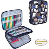 Teamoy Organizer Case for Interchangeable Circular Knitting Needles, Crochet Hooks and Knitting Accessories, Keep All in One Place and Easy to Carry, Cats Blue (No Accessories Included)
