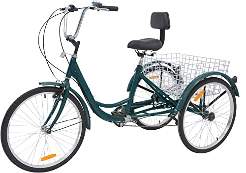 Barbella Adult Tricycle, 24-Inch Single and 7 Speed Three-Wheeled Cruise Bike with Large Size Basket for Recreation, Shopping, Exercise Men s Women s Bike