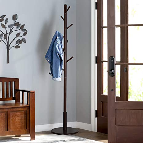 Amazon Vlush Sturdy Wooden Coat Rack Stand Entryway Hall Tree Interesting Hall Tree Coat Rack