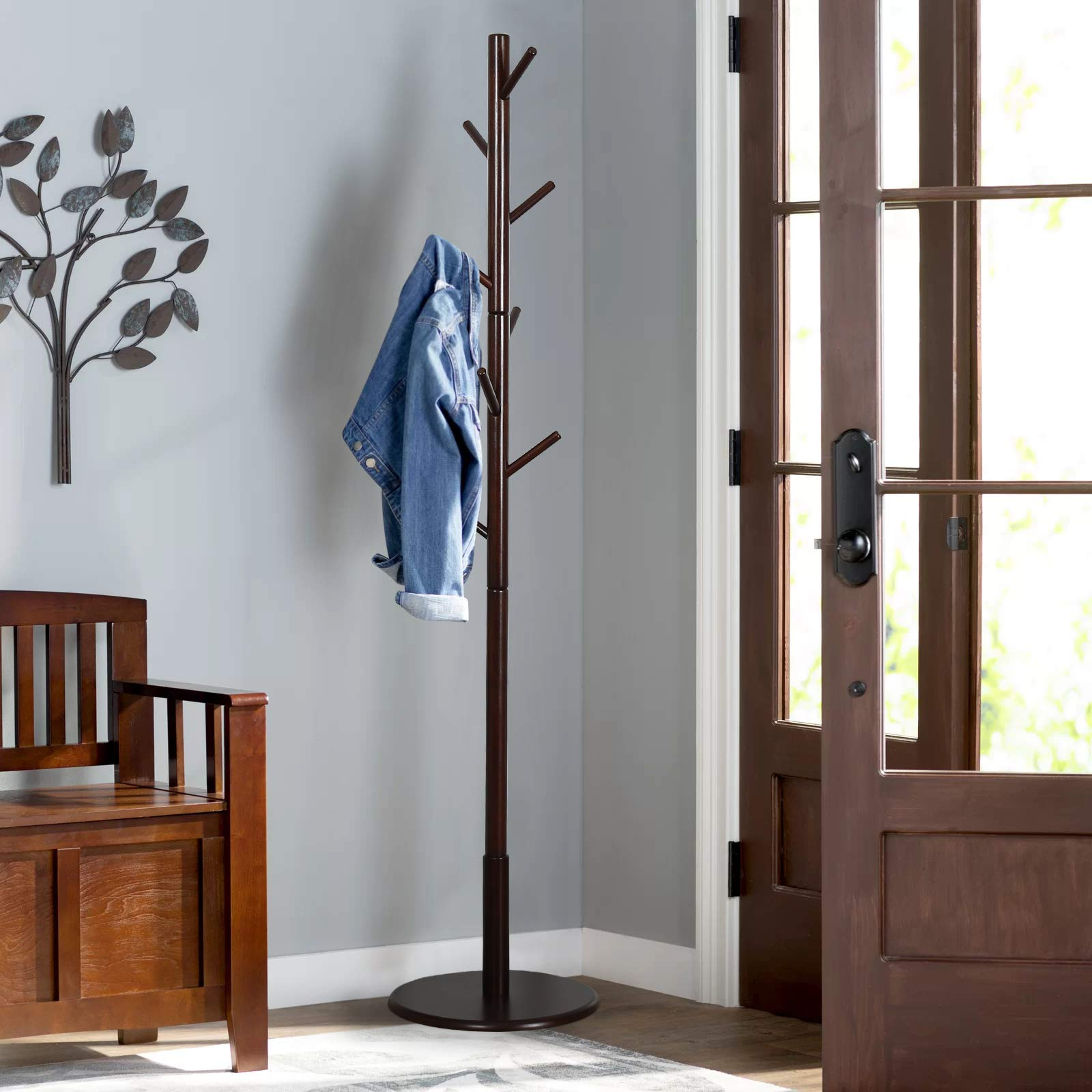 Vlush Sturdy Wooden Coat Rack Stand, Entryway Hall Tree Coat Tree with Solid Round Base for Hat,Clothes,Purse,Scarves,Handbags,Umbrella-(8 Hooks,Brown)