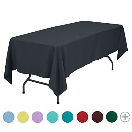 VEEYOO 70 X 120 Inch Rectangular Solid Polyester Tablecloth For Home  Wedding Restaurant Party Buffet Table