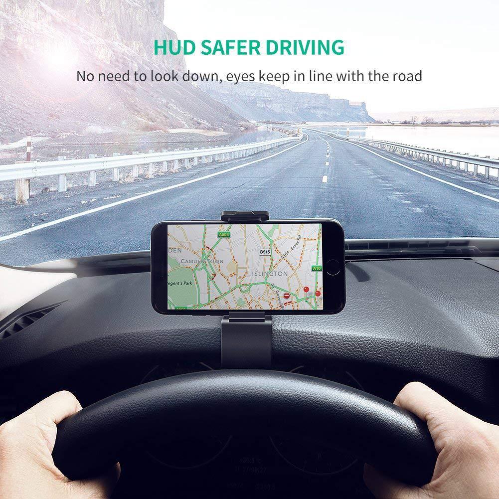 Soporte Teléfono Coche para Salpicadero, ZOORE HUD Soporte Móvil Coche GPS, Pinza Fuerte de Base Titular Móvil Vehícul Compatible iPhone 6/6s/5/7/8Plus/X, Huawei, Samsung, HTC LG 3.0\