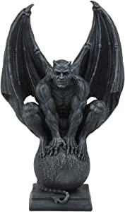 """Ebros Devil's Carnal Grip On The World Lucifer Satan Crouching On The Globe Statue 11.75"""" Tall Occultic Church of Satan Apocalyptic Sculpture"""