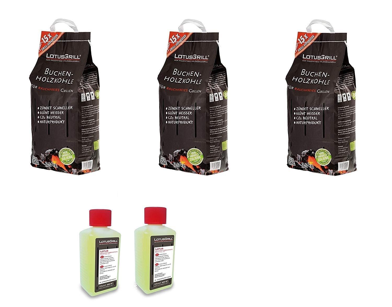 KIT Carbonella di Faggio 3 x 2, 5 Kg + 2 confezioni Gel per accensione Originale Lotus Grill LotusGrill
