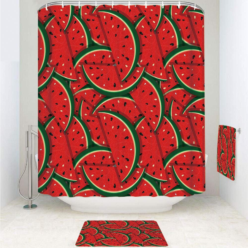 iPrint Polyester Fabric Bathroom Shower Curtain Set with Hooks,Slices Summer Season Tropical Organic Yummy Artsy,3pcs Set with Shower Curtain Bath Towel Non-Slip mat for Home Decor Bathroom