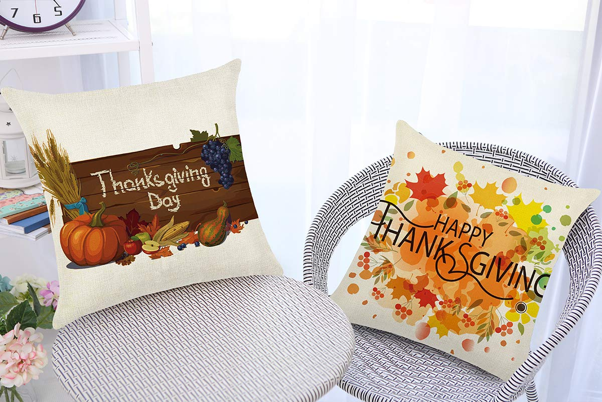Aiduy Thanksgiving Throw Pillow Covers Set of 4 Decorative Pillow Cases Cotton Linen Throw Cushion Case Square Pillow Cover Pumpkin Cushion Cover pillowcover for Sofa Bedroom Home Decor 18 x 18