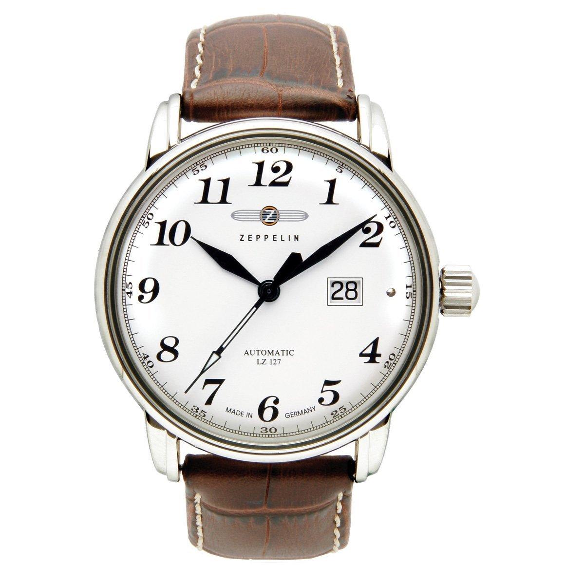 Zeppelin LZ 127 Graf Zeppelin - Reloj analógico de caballero automático con correa de piel marrón