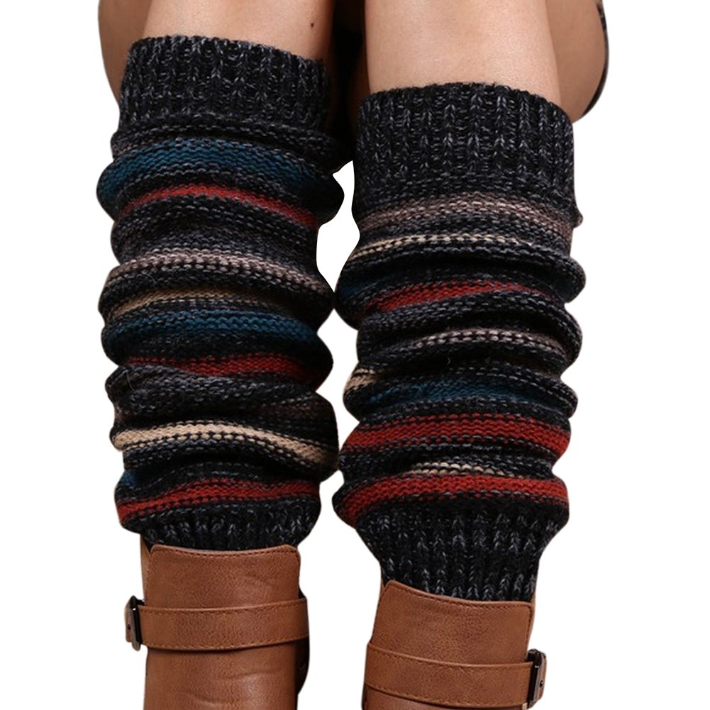 M RACLE Women's Bohemian Long Winter Cable Knit Leg Warmers