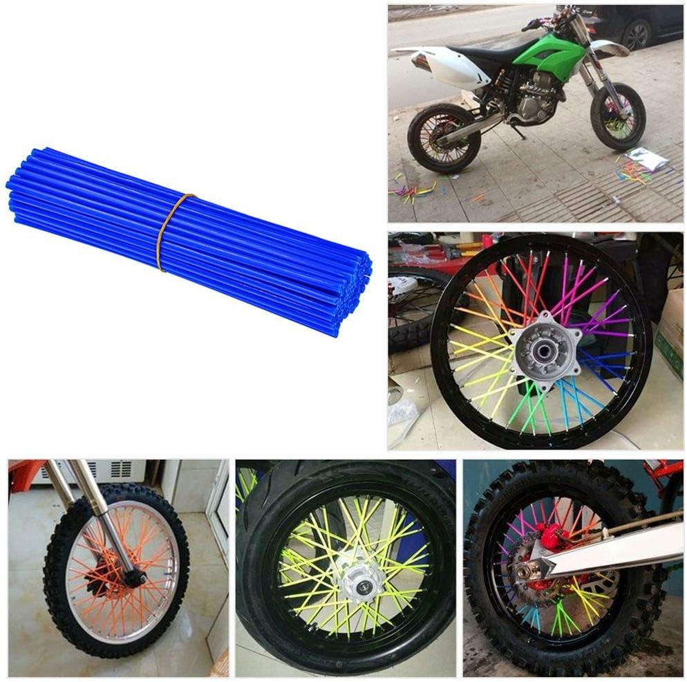 72Pcs 8-21 Universal Rims Bicycle Dirt Bike Wheel Rim Spoke Skins Wraps Set fits for Yamaha Kawasaki Suzuki Honda KTM Orange