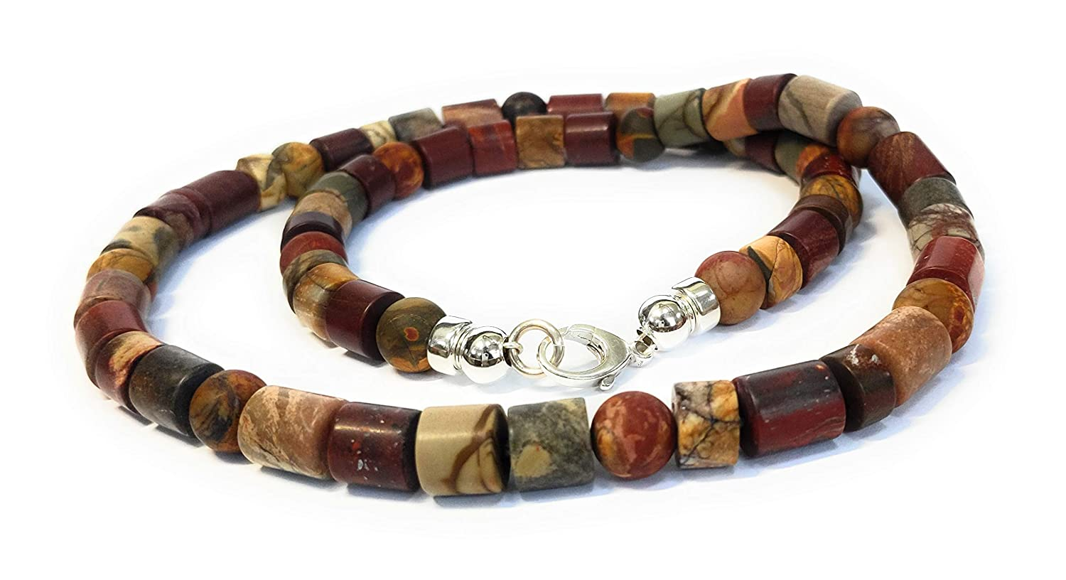 Mens Indian Agate Beaded Necklace with Sterling Silver