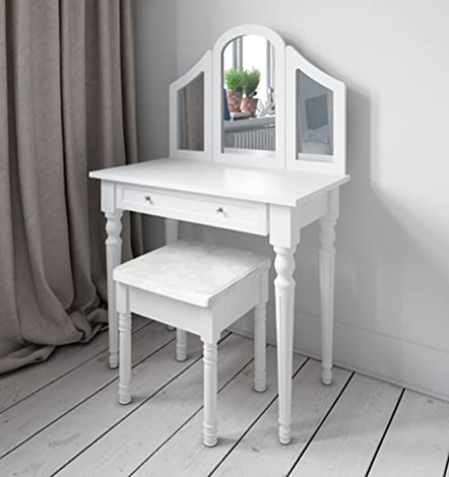 Shabby Chic White Or Black Dressing Table Vanity Makeup Dresser Storage MirrorDresser 1