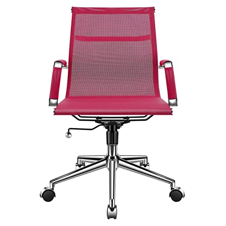 Wondrous Ergonomic Mesh Office Chair With Armrest Pink Adjustable Swivel Chair Breathable Mesh Desk Chair For Extra Back Lumbar Support Modern Office Task Ocoug Best Dining Table And Chair Ideas Images Ocougorg