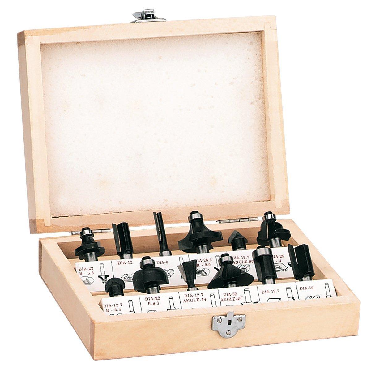 Einhell RT-RO 55 // BT-RO 1200 E  Pack de 12 fresas para madera color negro ref. 4350199 8 mm