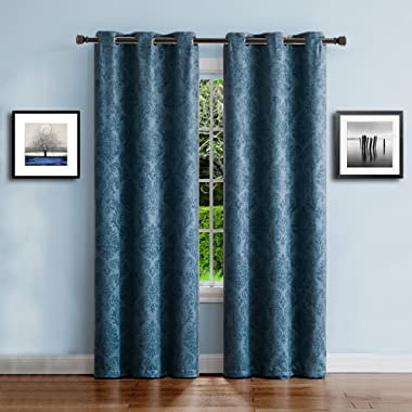 Warm Home Designs 1 Pair (2 Panels) of Dark Blue Teal Insulated Thermal Blackout Curtains with Embossed Textured Flower Pattern. Each Grommet Top Window Panel is 38  X 84  in Size. EV Teal 38x84