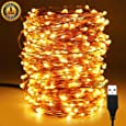 XERGY 20 Meter 200 LED's Waterproof Fairy Decorative Stary String Light - 2 M USB Powered (3 Copper Wires, Premium Quality) Warm White - Home DIY NYE Decoration Lights Wedding Festival Rice Light