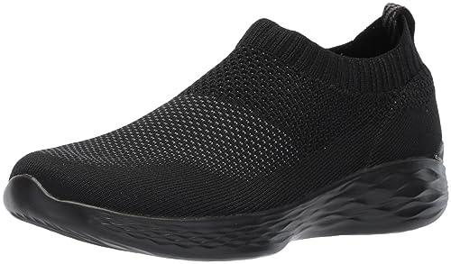 Skechers You-Pure, Zapatillas sin Cordones para Mujer, Negro (Black), 36 EU