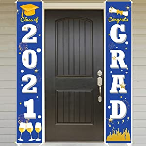 Ivenf Graduation Porch Sign Set, Congrats Grad Class of 2021 Home for Outdoor Indoor, Blue Gold Hanging Banner Yard Porch Decor Party Decoration Ornament