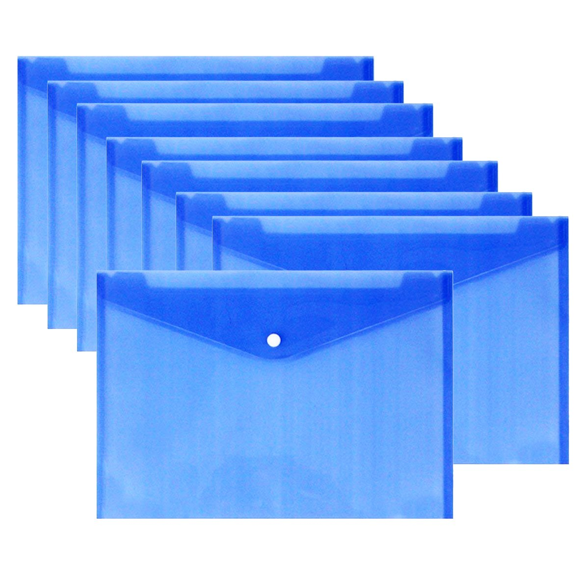 Warmter Poly Envelopes Clear Folder Plastic Clear Folders Clear Document Folder with Snap Button US Letter/A4 Size Set of 12 Blue