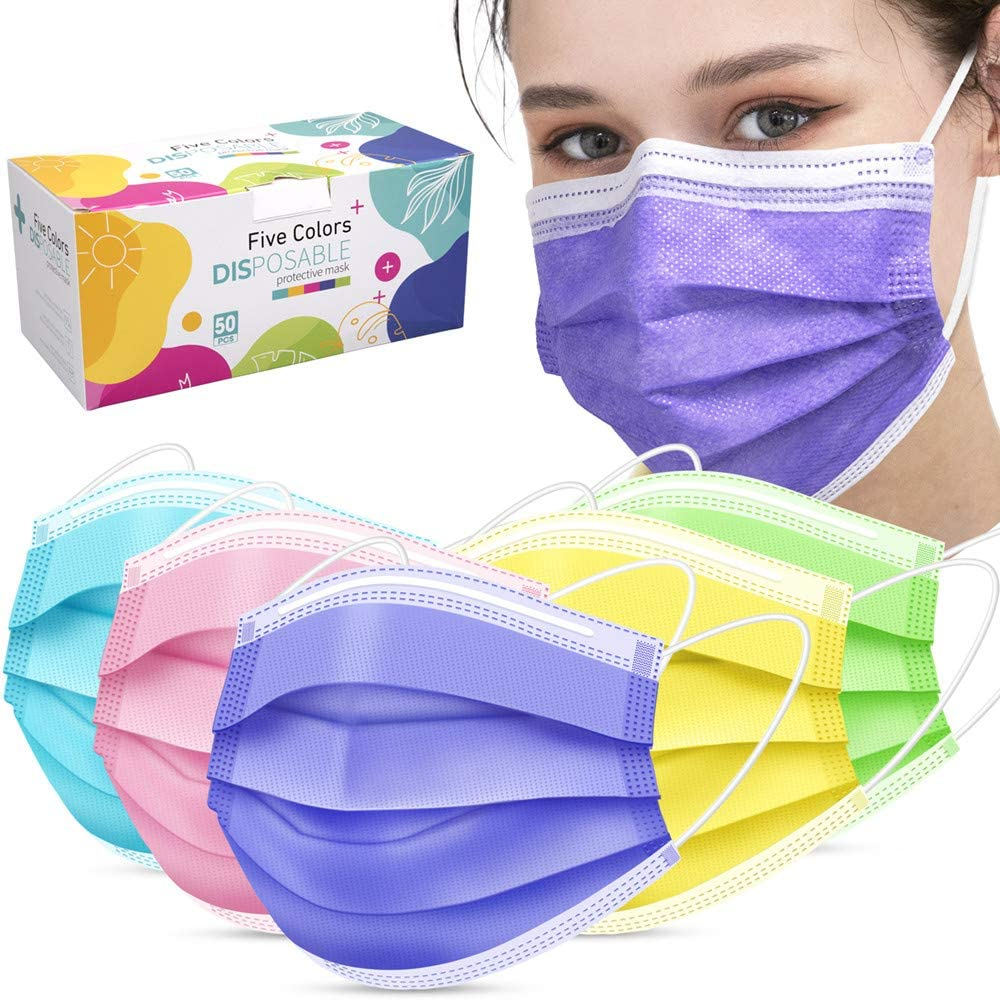 10 Pezzi Ldiawnshi 5ply Disposable Face Covering for Adult 10//25//50//100 Pezzi per Adulti