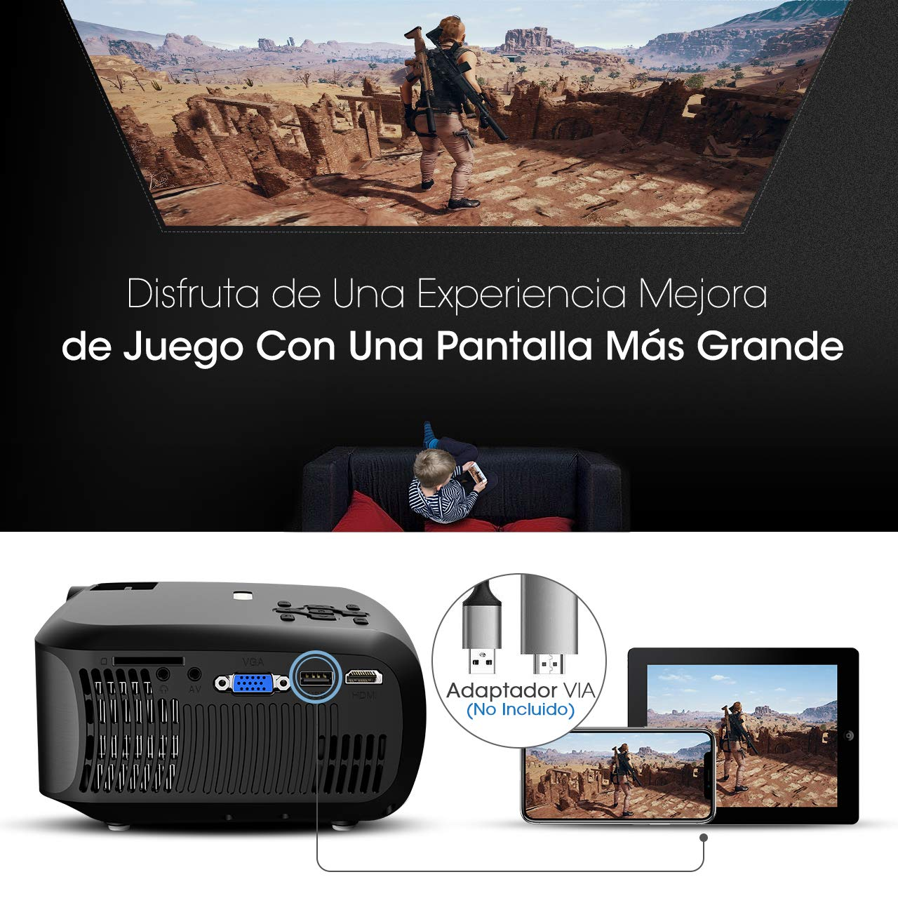 Mpow Proyector Full HD con Trípode, 3200 Lúmenes LED 1280 * 720P ...