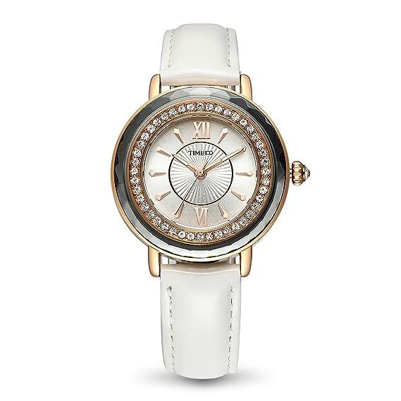 Time100 Reloj Blanco Moderno con Rueda de Brillantes de Pulsera para Mujer: Amazon.es: Relojes