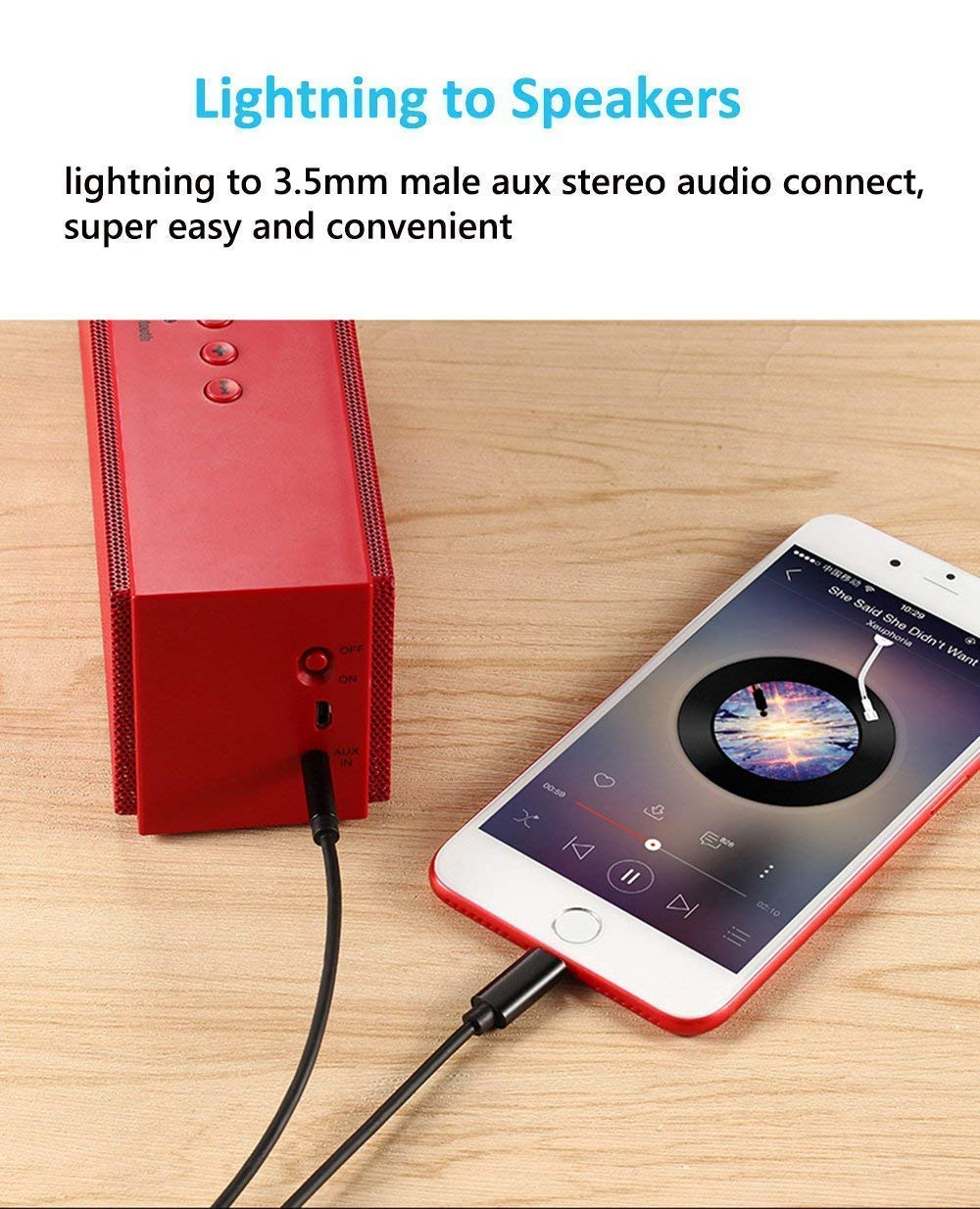 Aux Cord for Car Lighting to 3.5mm Aux Cable Compatible with iPhone XR//X//8Plus//8//iPad//iPod for Headphone//Speaker//Home Stereo