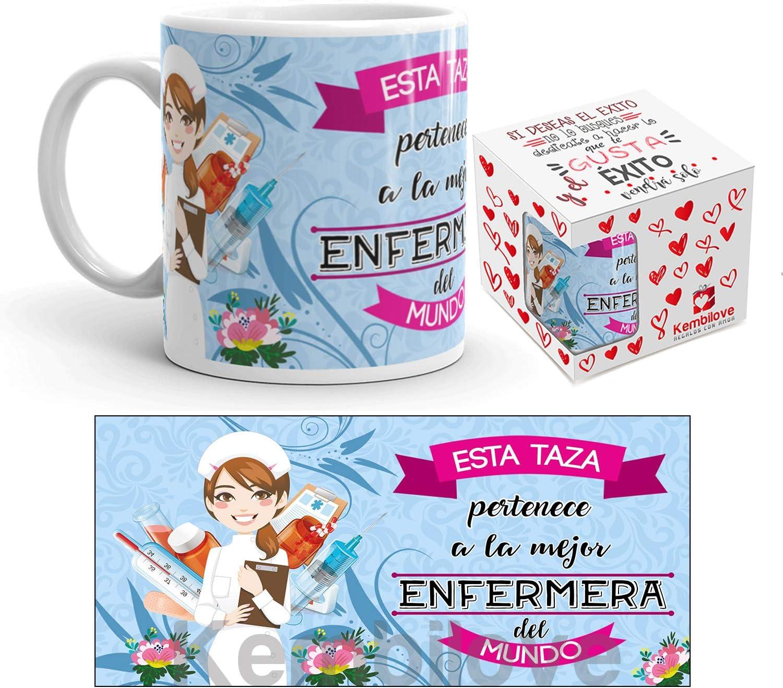 Kembilove Taza de Café del Mejor Enfermera del Mundo – Taza de Desayuno para la Oficina – Taza de Café y Té para Profesionales – Taza de Cerámica Impresa – Tazas de Jefe de 350 ml para Enferera