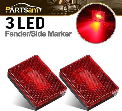 4Pc New Rectangular Red LED Side Marker Light Truck Trailer Square Reflector