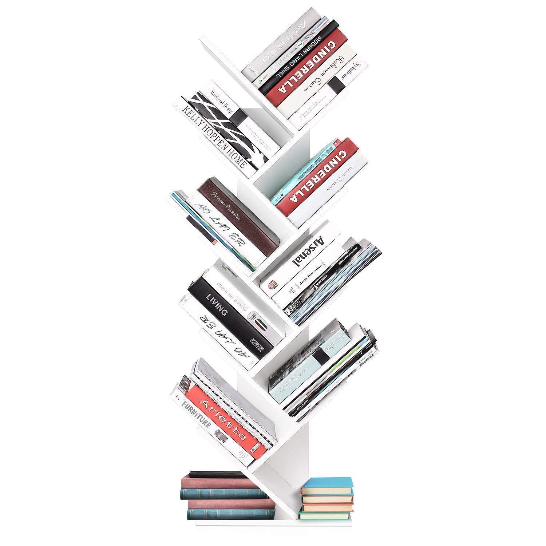 Homfa Wood Bookshelf Tree Bookshelf Bookcases for Living Room Storage Organizer Display Unit 40x20x127cm