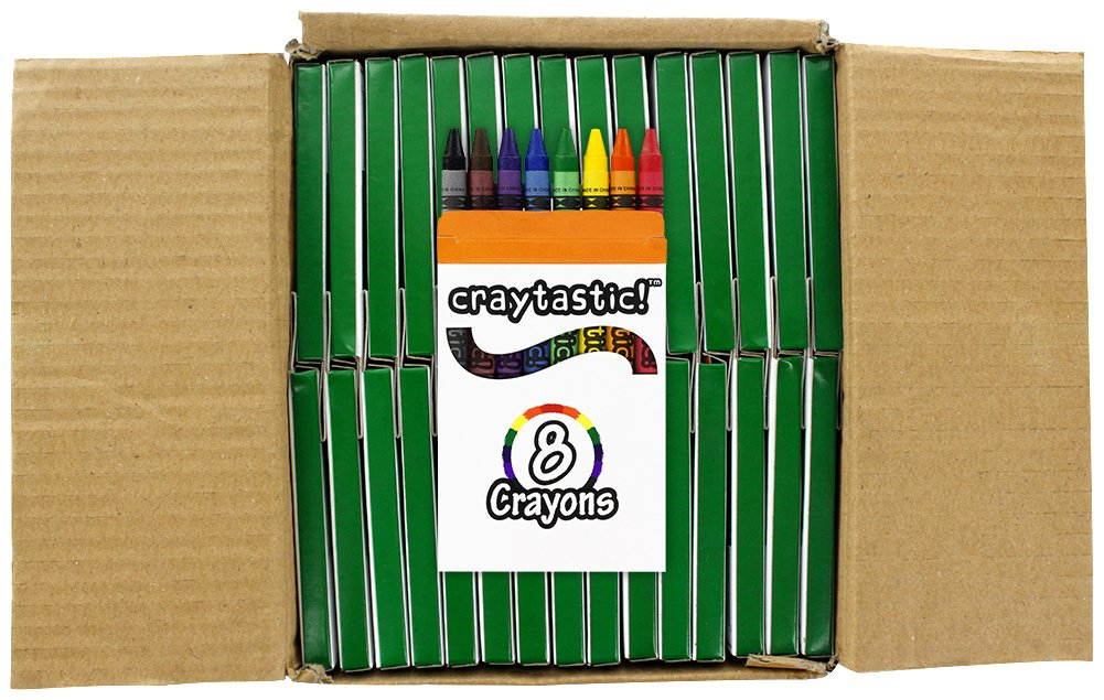 Premium Bulk Crayons Full Size 30 Individual Boxes of 8 Colors//Count Class Pack Craytastic Safety Tested Compliant with ASTM D-4236 Red, Yellow, Green, Blue, Purple, Brown, Black