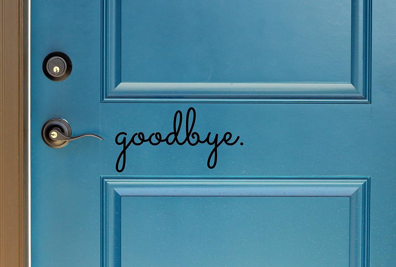 """Goodbye in Cursive Indoor/Outdoor Lettering Wall Art Decor Sticker Vinyl for Door 5"""" X 9.87"""" (Black, Matte)"""