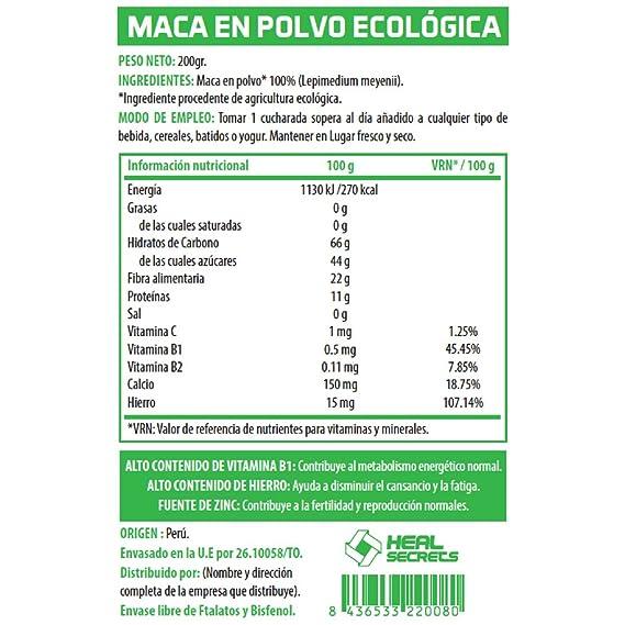 Maca en Polvo Organica Superalimentos Heal Secrets Alto contenido de Vitamina B! Hierro y Zinc 100% Vegano Polvo de Maca Orgánico Premium: Amazon.es: ...