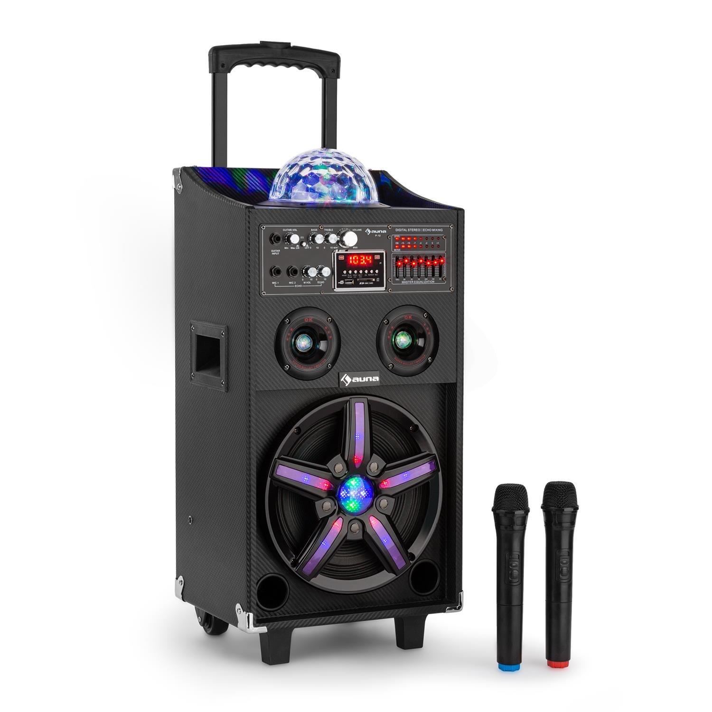 auna DisGo Box 100 • altoparlante DJ mobile • luce LED • 100 W RMS • woofer da 10 ?? • 2 woofer-piezo • Bluetooth • porta USB • radio UKW • AUX • due microfoni • Karaoke • Telecomando • nero