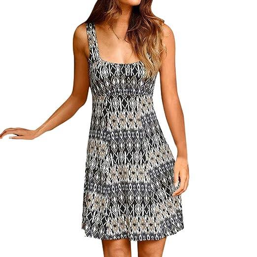 d39a227030d Oufenli Womens Casual Crew Neck Shift Dress Retro Printed Boho Style  Sleeveless Summer Dress Sundress at Amazon Women s Clothing store